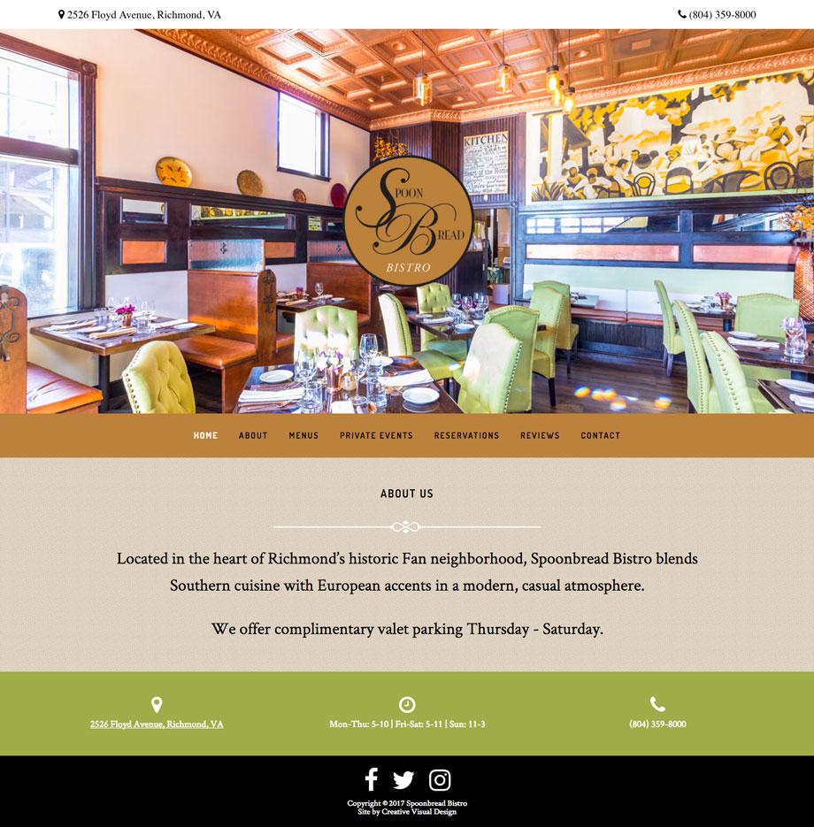Spoonbread Bistro - Site by Creative Visual Design